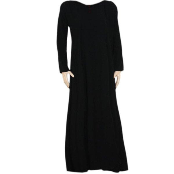 Geschlossener Abaya Mantel mit Stickerei in Schwarz