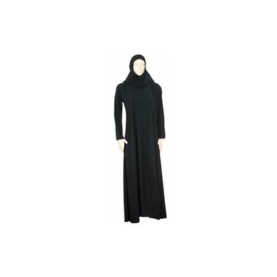 Black Abaya coat with scarf and elastic sleeves