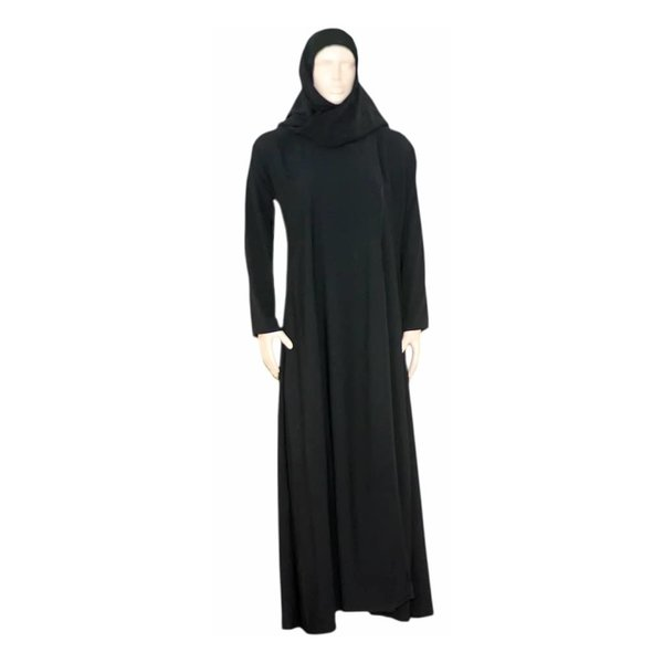Schwarzer Abaya Mantel mit Schal und elastischen Ärmeln