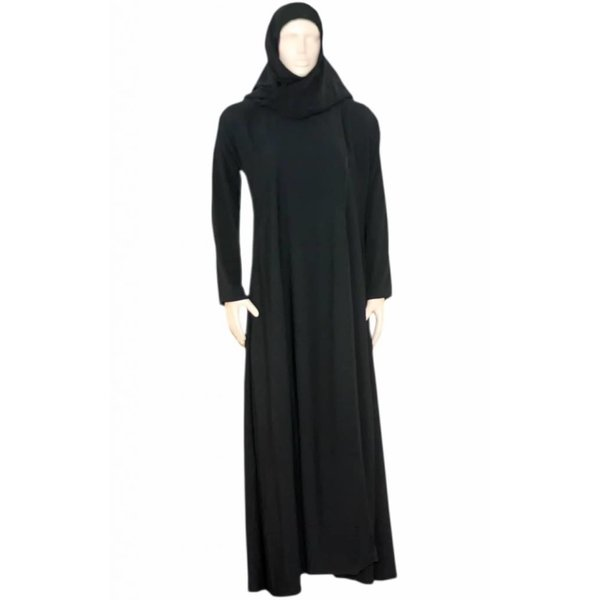 Black Abaya coat with scarf and elastic sleeves with pearls