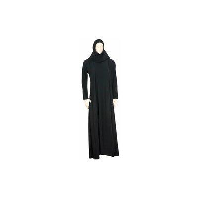 Schwarzer Abaya Mantel mit Schal und elastischen Ärmeln mit Perlen