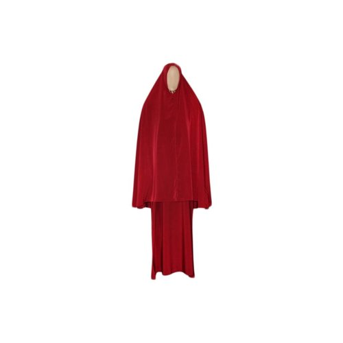 Abaya Mantel mit Khimar - Warmes Set in Rot