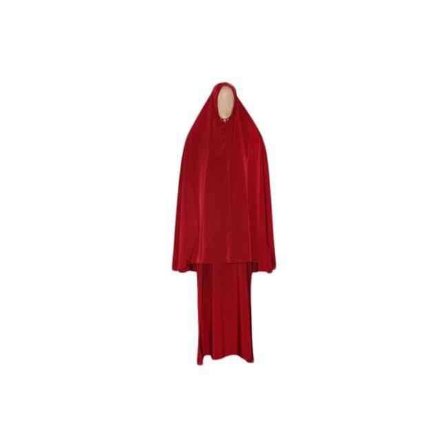 Abaya Mantel mit Khimar - Warmes Set in Rot