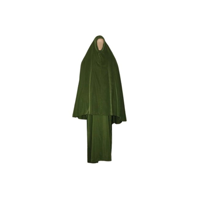 Abaya coat with khimar - Warm Set in Green