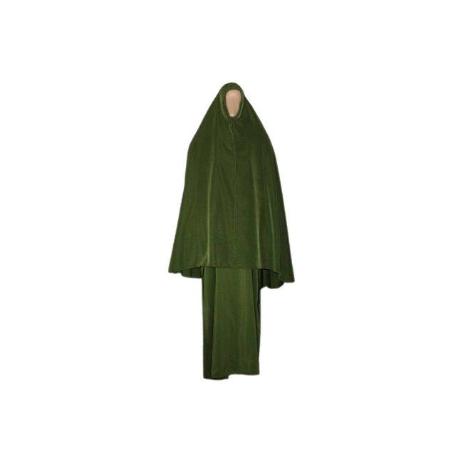 Abaya Mantel mit Khimar - Warmes Set in Grün