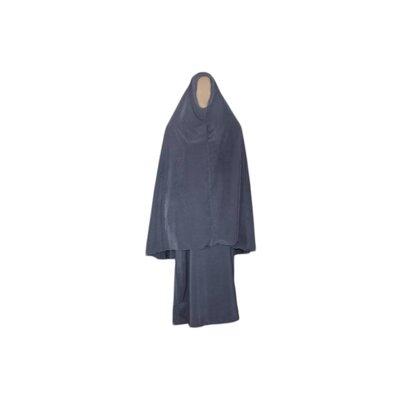 Abayah Mantel mit Khimar - Warmes Set in Grau