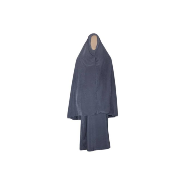 Abaya Mantel mit Khimar - Warmes Set in Grau
