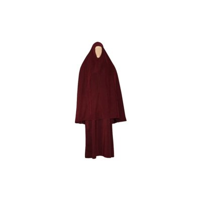 Abayah coat with khimar - Warm Set in Dark Red