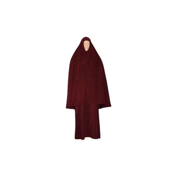 Abayah Mantel mit Khimar - Warmes Set in Dunkelrot