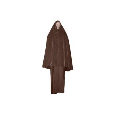 Abayah Mantel mit Khimar - Warmes Set in Braun