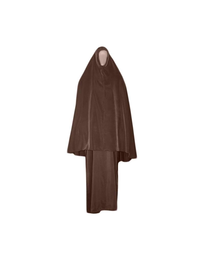 warmer abaya mantel in braun mit passendem khimar hijab und niqab oriental style. Black Bedroom Furniture Sets. Home Design Ideas