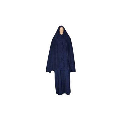 Abayah Mantel mit Khimar - Warmes Set in Blau