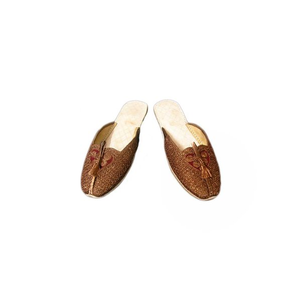 Leather slip-on shoe with heart - Brown - Khussa Slipper