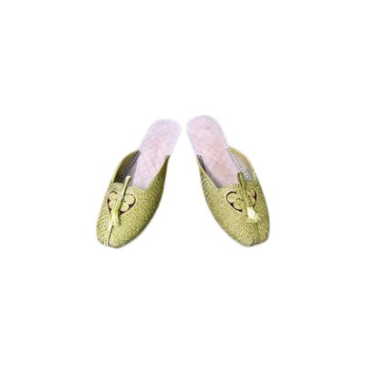 Leather slip-on shoe with heart - Gold - Khussa Slipper