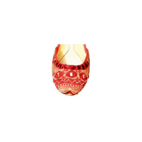 Orientalische Leder-Ballerinas Schuhe mit Spiegelstickerei - Rot