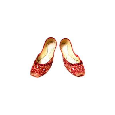 Leder-Pantolette mit Spiegelstickerei - Rot