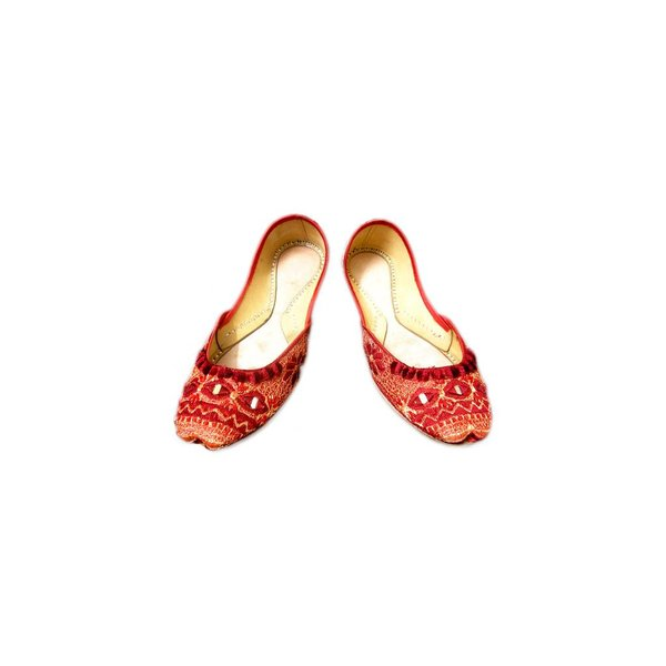 Leather slip-on khussa with mirror embroidery - Red