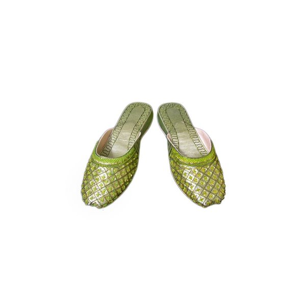 Oriental leather slip-on with sequins in Light Green