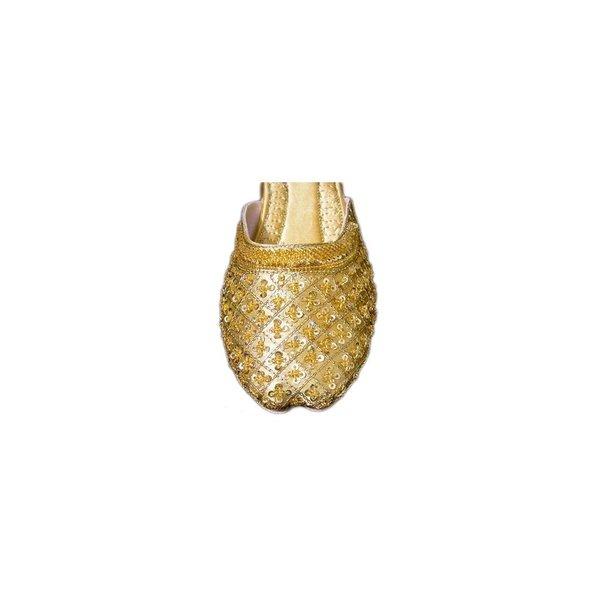 Orientalische Leder-Pantoletten Schuhe mit Pailletten in Gold