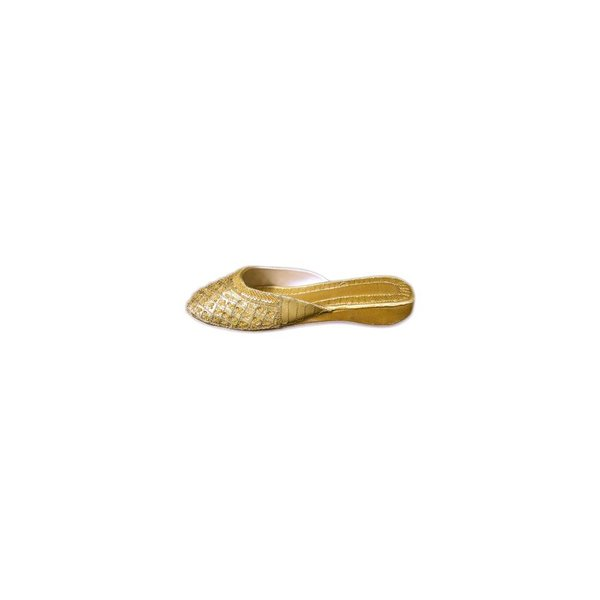 Oriental leather slip-on with sequins in Gold