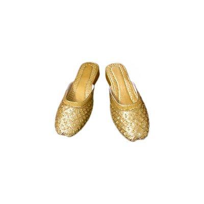 Orientalische Leder-Pantolette mit Pailletten in Gold