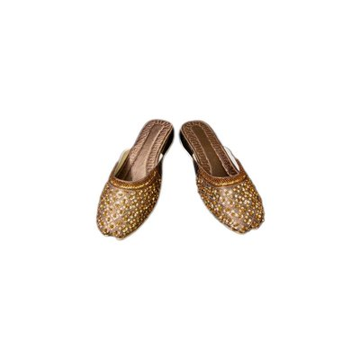 Oriental leather slip-on with sequins in Brown