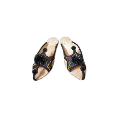 Oriental Leather Slip-On with bobbles in black