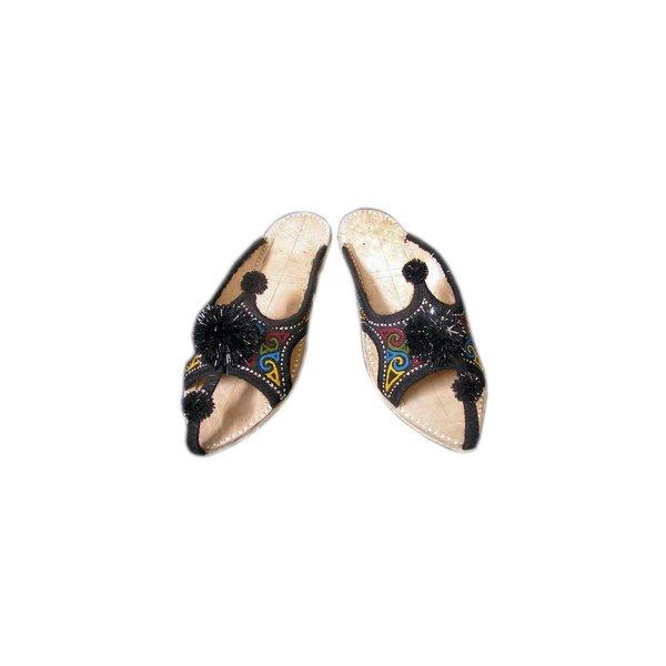 Indische Leder-Pantoletten Schuhe mit Pompons in Schwarz