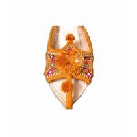 Indische Leder-Pantoletten Schuhe mit Pompons in Braun