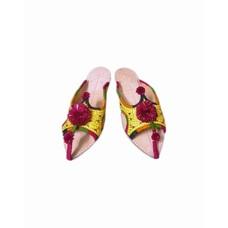 Pompon Pantolette - Goldgelb