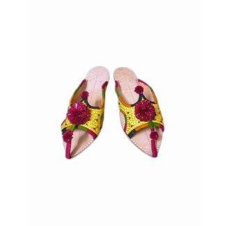 Indische  Pompon Pantoletten Schuhe - Goldgelb