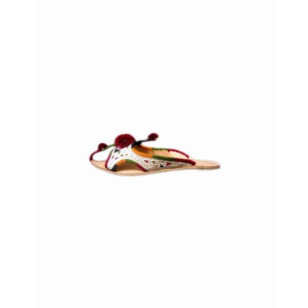 Indische Leder-Pantoletten Schuhe mit Pompons in Weiss