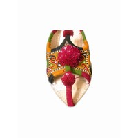 Orientalischer Leder-Pantoletten Schuh mit Pompons in Bunt