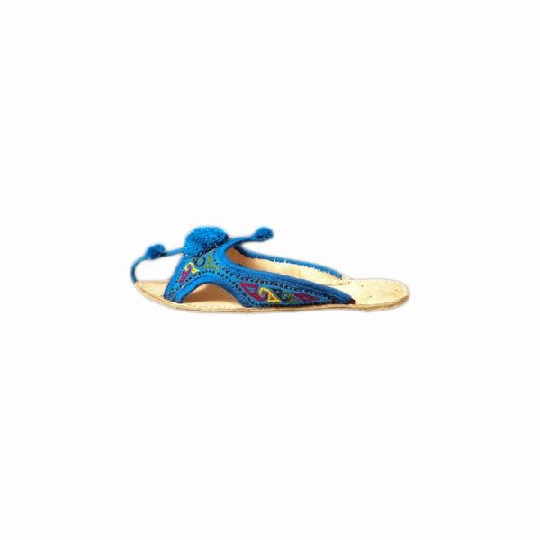 Oriental Leather Slip-On with bobbles in blue