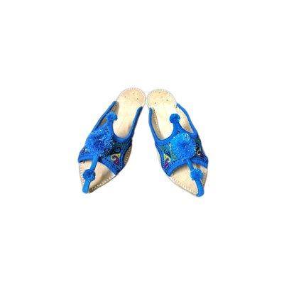 Orientalische Leder-Pantolette mit Pompons in Blau