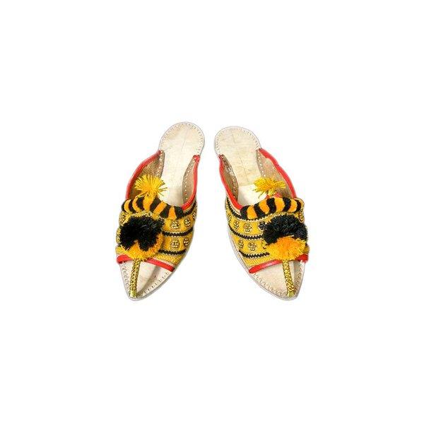 Orientalischer Leder-Pantoletten Schuh mit Pompons in Schwarz-Gelb