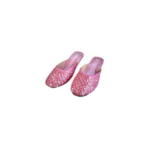 Orientalische, indische Pantoletten Schuhe - Hellrosa