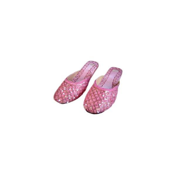 Orientalische, Indische Pantoletten Schuhe mit Pailletten in Hellrosa