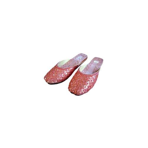 Orientalische, indische Pantoletten Schuhe - Lachsrosa