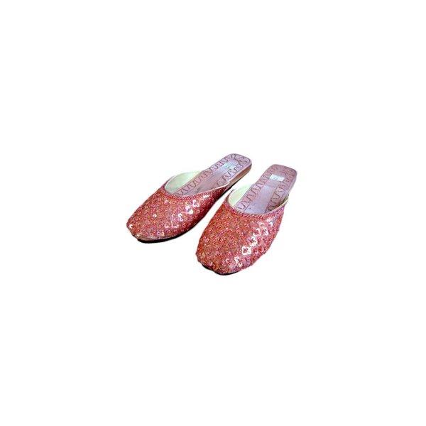 Orientalische, Indische Pantoletten Schuhe mit Pailletten in Lachsrosa