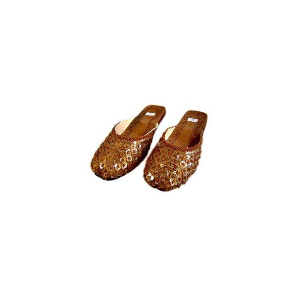 Orientalische, Indische Pantoletten Schuhe mit Pailletten in Braun