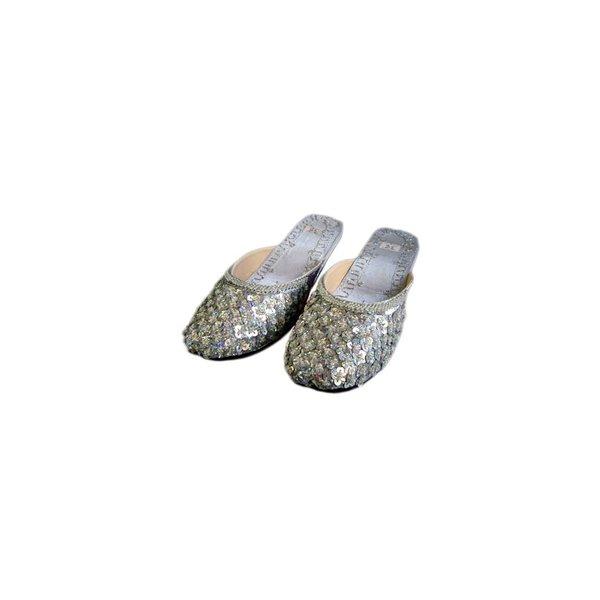 Orientalische, Indische Pantoletten Schuhe mit Pailletten in Hellgrau