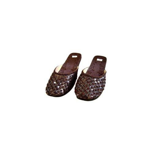 Orientalische, indische Pantoletten Schuhe - Dunkelbraun
