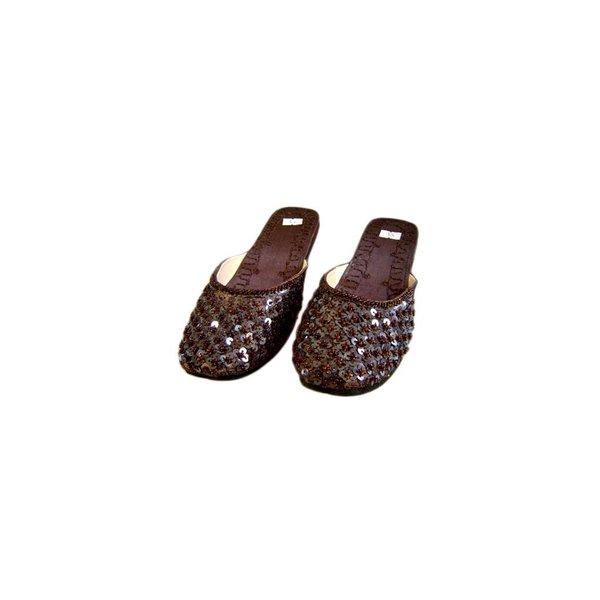 Orientalische, Indische Pantoletten Schuhe mit Pailletten in Dunkelbraun