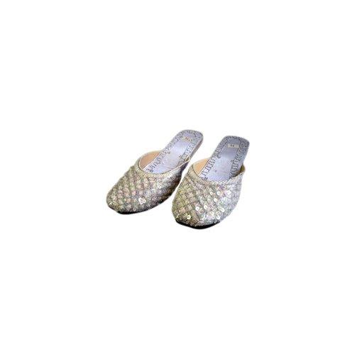 Orientalische, indische Pantoletten Schuhe - Silberweiss