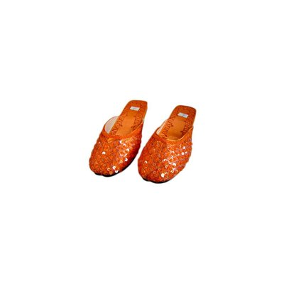 Orient-Pantolette mit Pailletten in Orange