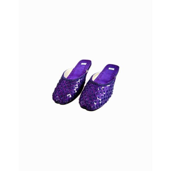 Orientalische, Indische Pantoletten Schuhe mit Pailletten in Violett