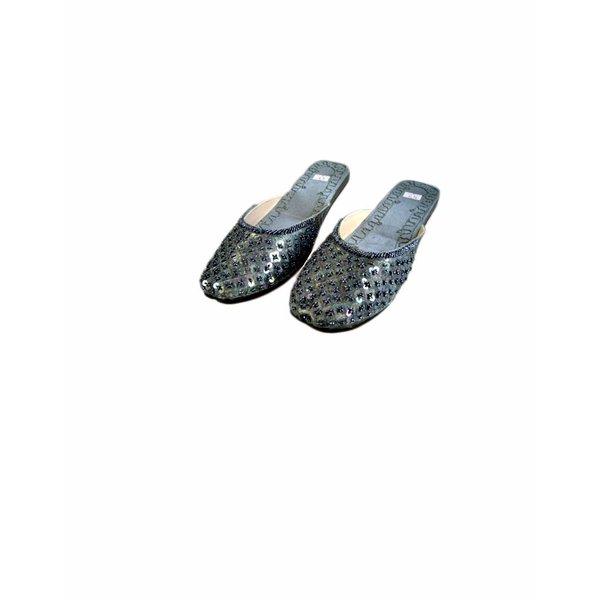 Orientalische, Indische Pantoletten Schuhe mit Pailletten in Dunkelgrau