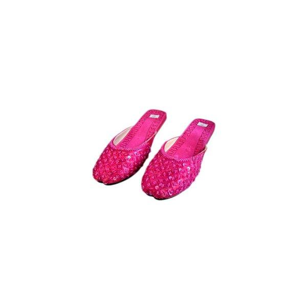 Orientalische, Indische Pantoletten Schuhe mit Pailletten in Pink