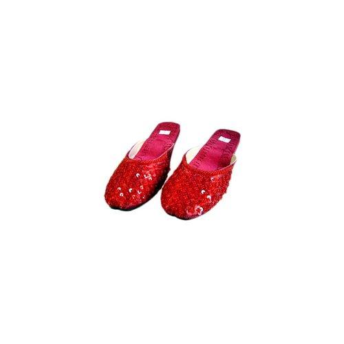 Orientalische, indische Pantoletten Schuhe - Karminrot